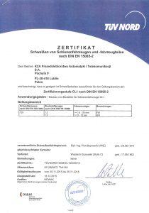 Zertifizierungsstufe CL1 nach DIN EN 15085-2